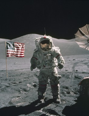On 12 December 1972, Apollo 17 Mission Commander Eugene Cernan stands near the lunar rover on the surface of the Moon. (NASA)