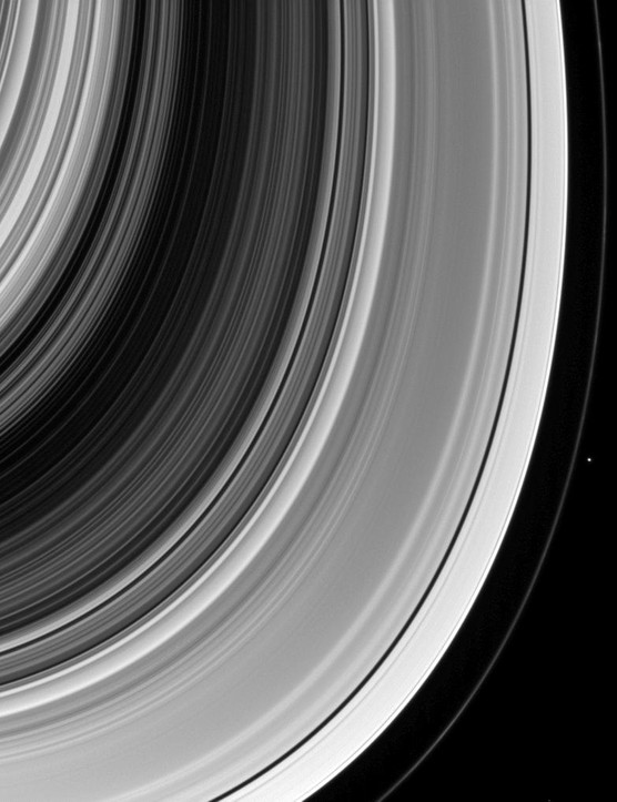 8th March 2014. Spectacular view of Saturn's rings with Pandora. The gravitational pull from the moon helps confine the outer F ring and keep it from spreading. (Credit: NASA/JPL-Caltech/Space Science Institute)