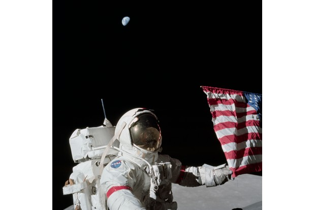 Apollo 17 crew member Eugene Cernan seen during the mission's first extravehicular activity, 12 December 1972. (NASA)