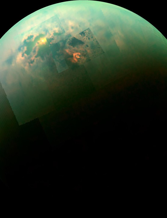 Near-infrared colour mosaic of Titan's north pole showing the sunlight reflecting off its seas. (Credit: NASA/JPL-Caltech/Univ. Arizona/Univ. Idaho)