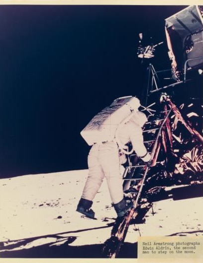 Buzz Aldrin makes his way down the Lunar Module ladder to become the second man on the Moon, 20 July 1969.