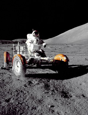 Gene Cernan takes the Lunar Roving Vehicle for a ride on the Moon during the Apollo 17 mission. (NASA)