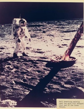 Neil Armstrong seen near the Lunar Module on during the Apollo 11 mission to the Moon.