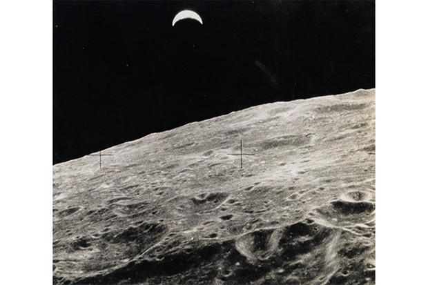 A view of Earth from the lunar surface