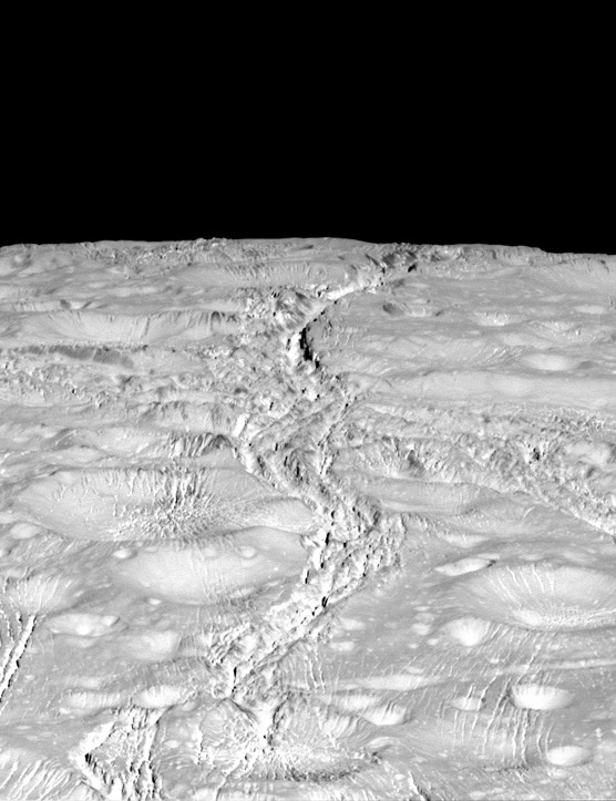14th October 2015. Zoomed-in view of Enceladus' north pole, showing the extent of a global system of fractures on the moon's surface. (Credit: NASA/JPL-Caltech/Space Science Institute)