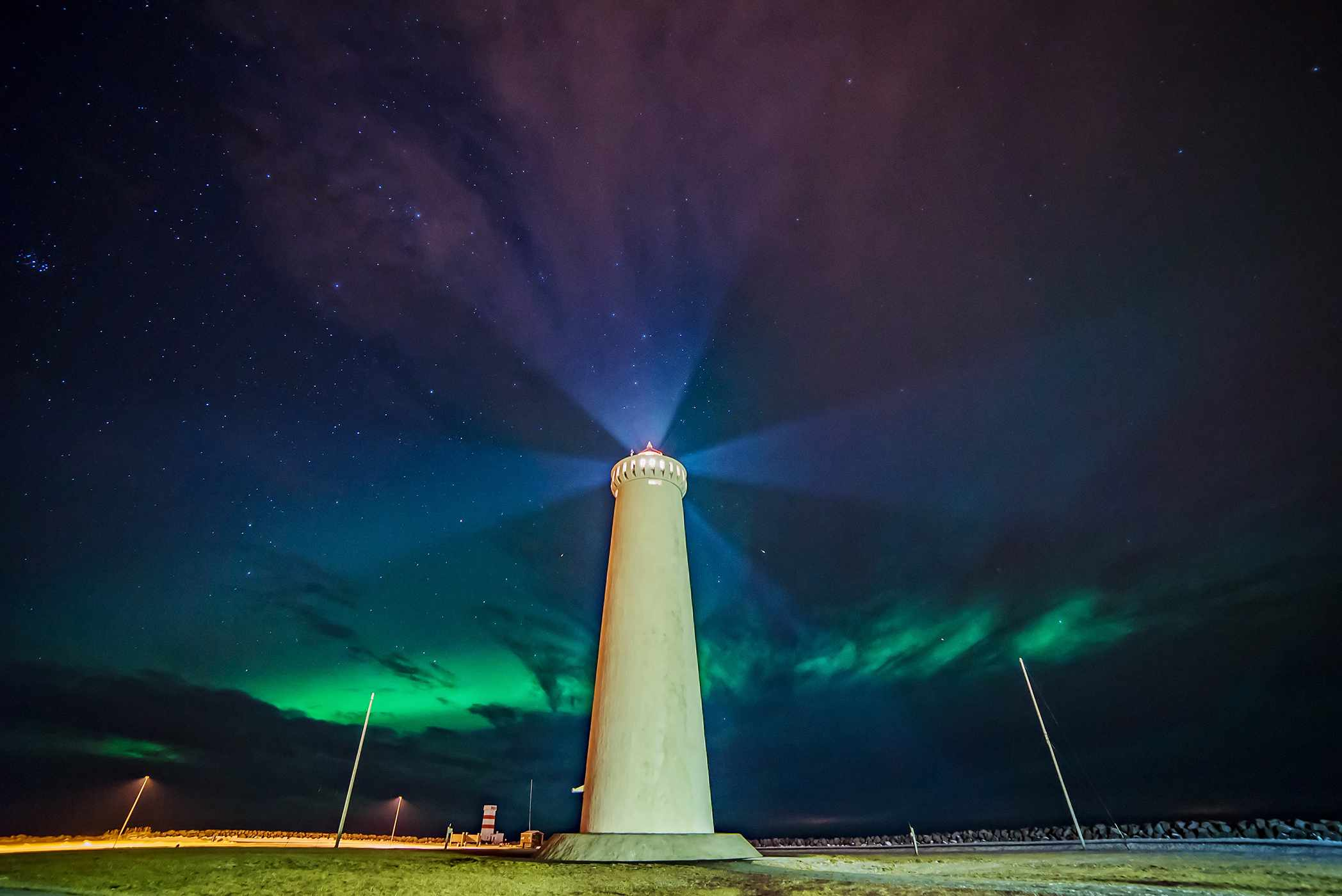 Mariusz Szymaszek, Garðskagi lighthouse, Iceland, 2 February 2016. Equipment: Sony A7S camera, Samyang 14mm lens.