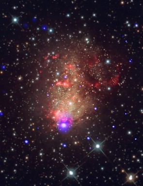 Starburst galaxy IC 10, Chandra X-ray Observatory, 10 August 2017 (Credit: Credit  X-ray: NASA/CXC/UMass Lowell/S.Laycock et al. Optical: Bill Snyder Astrophotography)