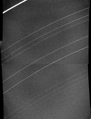 Voyager 2 captures the newly discovered 10th ring of Uranus – it's extremely faint, midway between the bright Epsilon ring at the top and the next obvious one down, the Delta ring. The other nine known rings of Uranus are also visible; and 11th was spotted in Voyager data at a later date. (Credit: NASA/JPL)