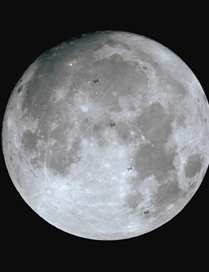 "Luigi Fiorentino, Bari, Italy. Luigi says: ""I managed to capture a shot of the supermoon with a transit of the International Space Station!"" Equipment: Canon EOS 650D DSLR camera, Celestron C9.25 XLT"