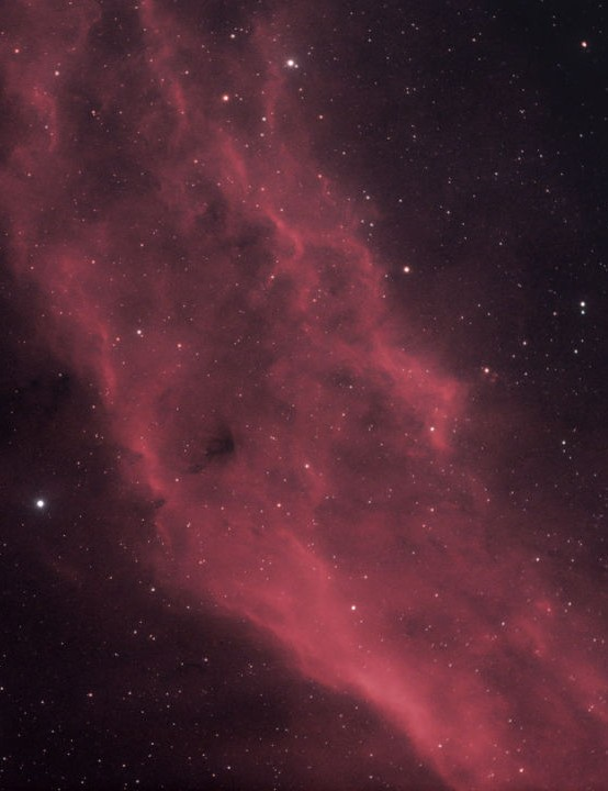 The California Nebula, Ruzeen Farsad, Kettering, 11-27 February 2019. Equipment: Canon EOS 450D DSLR camera, Sky-Watcher Evostar 80ED Pro refractor, Sky-Watcher HEQ5 Pro SynScan mount.