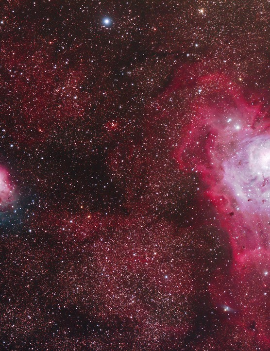"""Gábor Szendrői, Kendig, Hungary, 16 July 2017  Gábor says: """"Since these nebulae never rise very high in the sky in Hungary, it was necessary to find a dark observation site, preferably one at high altitude to capture the vivid colours and the delicate structure of the nebulae embedded into a rich star field. My father and I decided to return to Kendig, our favourite observation site, 726 metres above sea level.""""  Equipment: Modified Canon EOS 700D DSLR camera, GPU 100/635 apochromatic refractor, Sky-Watcher AZ-EQ6 Go-To mount."""