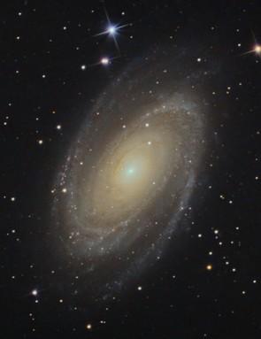 Bode's Galaxy, James Harrison, Oxfordshire, 18, 26 February 2019. Equipment: ZWO ASI183MM-PRO mono camera, Sky-Watcher Explorer 200PDS Newtonian, Sky-Watcher EQ-6R Pro mount.
