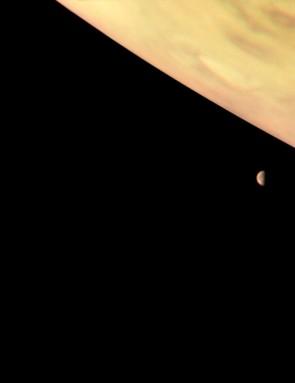 Io, Europa and Jupiter, NASA Juno spacecraft, 6 October 2017 (Credit: NASA/JPL-Caltech/SwRI/MSSS/Roman Tkachenko)