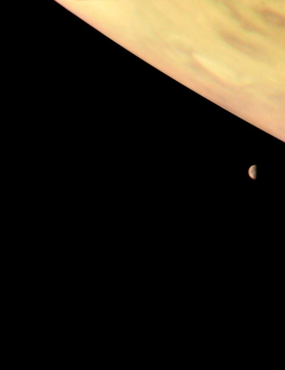 Io, Europa and Jupiter, NASA Juno spacecraft, 6 October 2017 (Credit: NASA/JPL-Caltech/SwRI/MSSS/Roman Tkachenko)