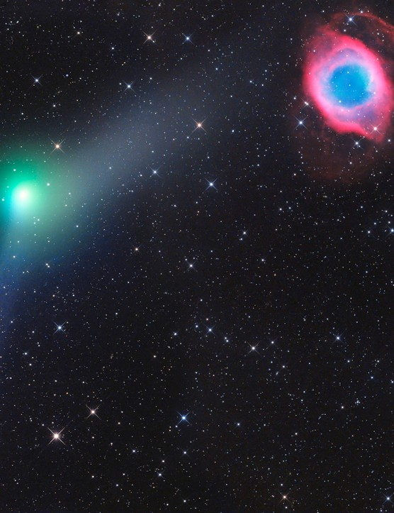 Encounter of Comet and Planetary Nebula    Gerald Rhemann (Austria)    Tivoli Farm, Khomas, Namibia, 5 June 2016    Equipment: FLI Microline ML 16200 CCD camera, ASA 12-inch Astrograph Newtonian reflector.