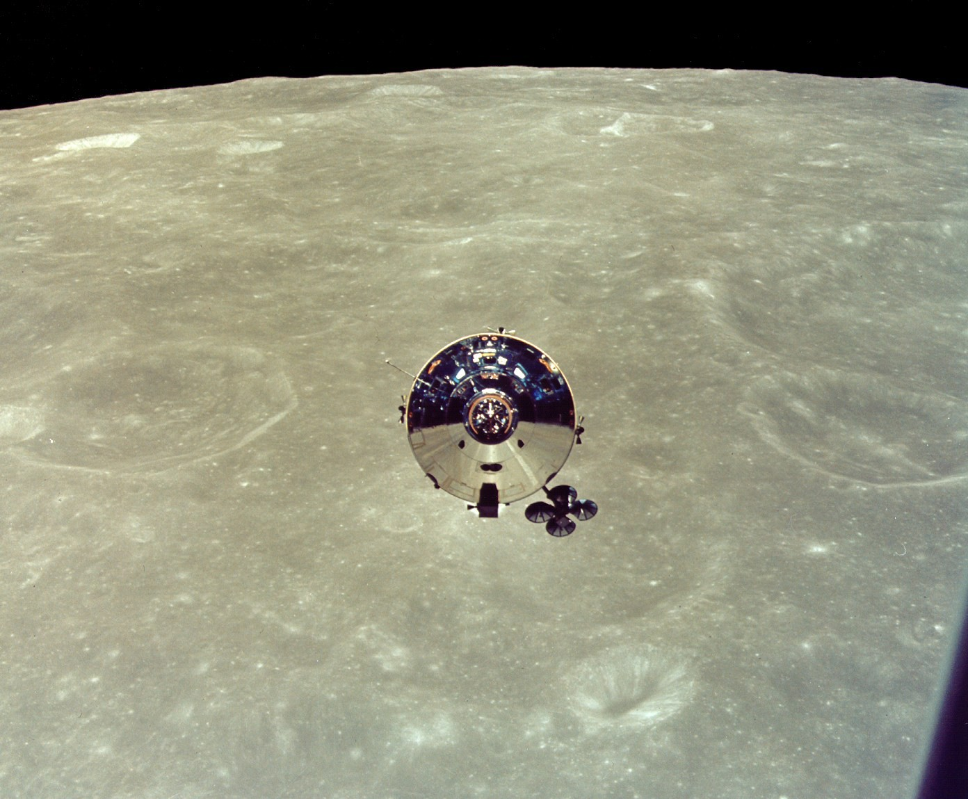 'Charlie Brown' just after undocking for Apollo 10's landmark approach to the Moon. Credit: NASA