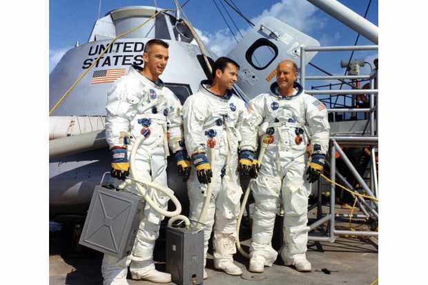 The Apollo 10 crew Eugene Cernan, John Young and Thomas Stafford pictured during training in their role as backup crew for Apollo 7, August 1968. Credit: NASA