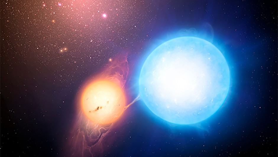 An illustration of a binary star system within a globular cluster. Credit: Mark A. Garlick/University of Warwick