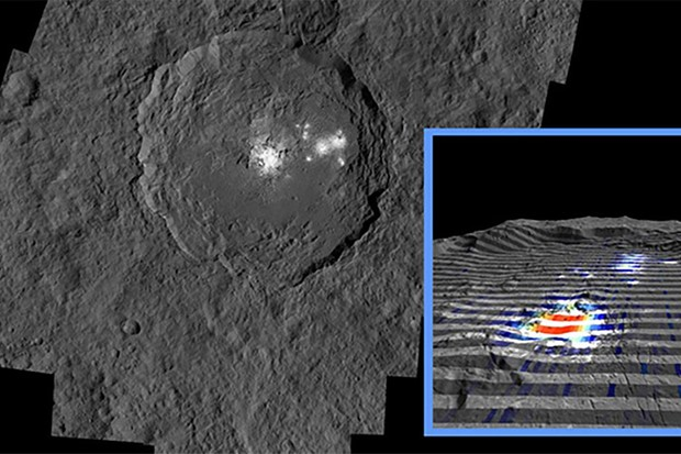 The bright spots on Ceres' Occator Crater. Inset shows data on the mysterious feature, with red indicating an abundance of carbonates. Image credit: NASA/JPL-Caltech/UCLA/MPS/DLR/IDA
