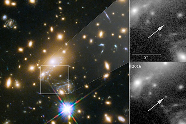 Hubble images show the location of the most distant star ever observed. Left is part of the view of galaxy cluster MACS J1149.5+2223. The square shows where the star appeared in May 2016. Top right shows the position of the star, observed in 2011, while lower right shows the star undergoing the microlensing event in May 2016. Image Credit: NASA & ESA and P. Kelly (University of California, Berkeley)