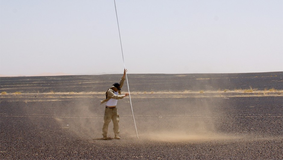 Samples of a dust devil are captured during field campaign 'Morocco 2016'. The samples are still under analysis.Credit: Jan Raack/Dennis Reiss.