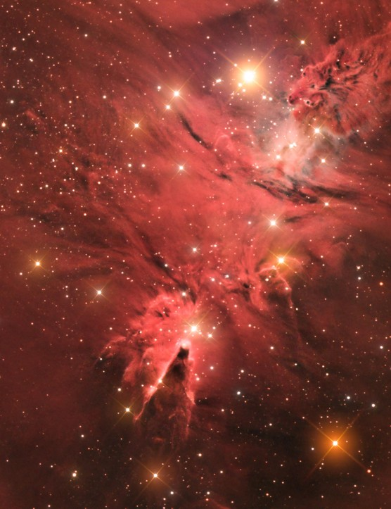 The Cone Nebula (NGC 2264)    Jason Green (Gibraltar)    Frenegal de la Sierra, Badajoz, Spain, 10 January 2017    Equipment: QSI 660wsg-8 mono CCD camera, William Optics FLT 132 triplet apo refractor, Celestron CGE Pro mount.