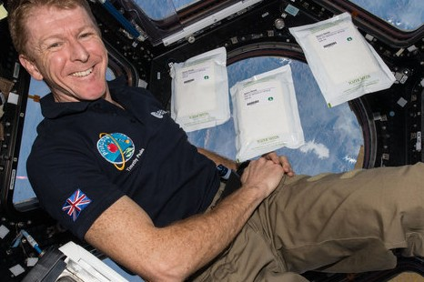 Tim Peake floating in the cupola on the ISS.