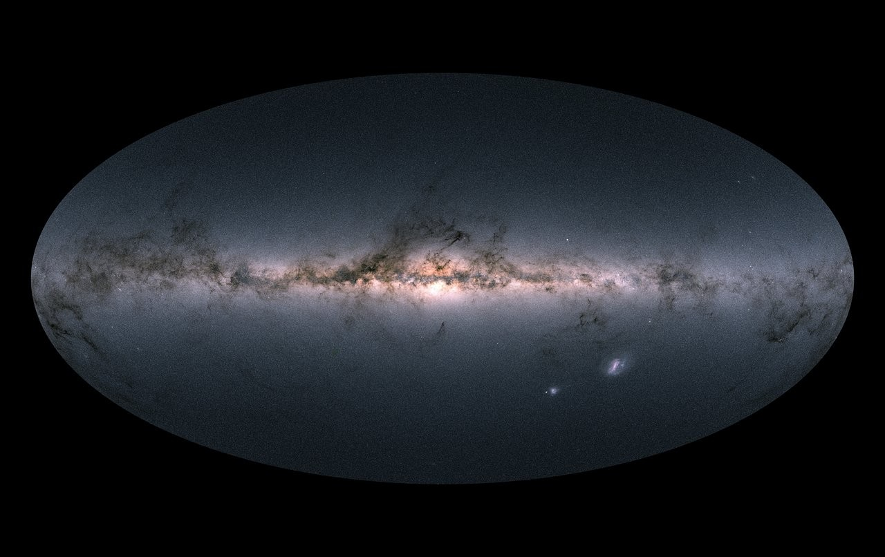 Gaia's all-sky view of the Milky Way based on the measurements of almost 1.7 billion stars.