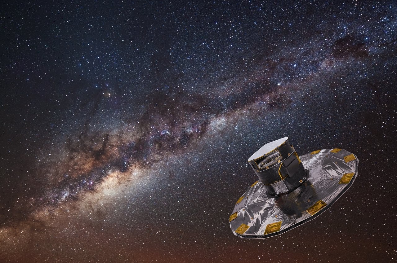 An artist's impression. Gaia spacecraft operated by the European Space Agency (ESA) seeks to map the Milky Way.