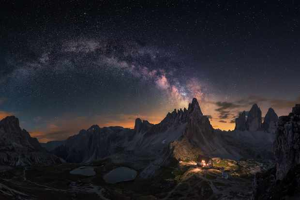 Guardian of Tre Cime   Carlos F. Turienzo (Spain)           Tre Cime, Italy, 25 June 2017   Equipment: Nikon D750 camera, 14mm f/3.3 lens, ISO 3200, 8x20-seconds exposure