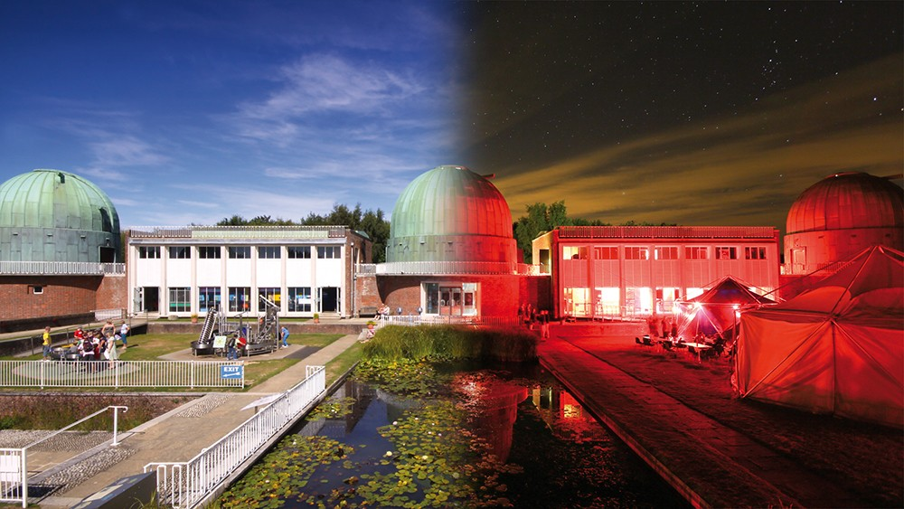Saturday night at the 2012 Herstmonceux Astronomy Festival. Looking across the site towards Domes A, B and C.