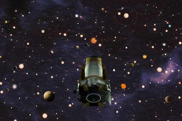 An artist's impression of the Kepler space telescope scouring the sky Credit: NASA