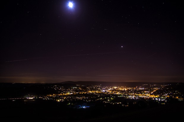Dorking at night View from Box Hill England.