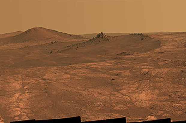 The elongated crater 'Spirit of St. Louis' can be seen in this image of the Martian surface, as seen by NASA's Mars Exploration Rover Opportunity. Credits: NASA/JPL-Caltech/Cornell Univ./Arizona State University