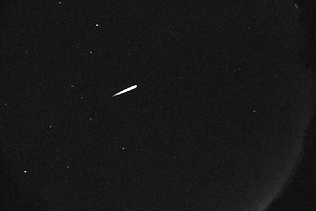 An Orionid meteor recorded by the NASA All Sky Fireball Network station on top of Mount Lemmon, Arizona, US on 13 October 2015. Credit: NASA