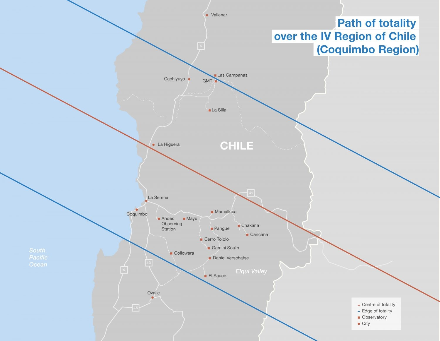 This map shows the location of some observatories in Chile and the total solar eclipse path on 2 July 2019. Credit: ESO