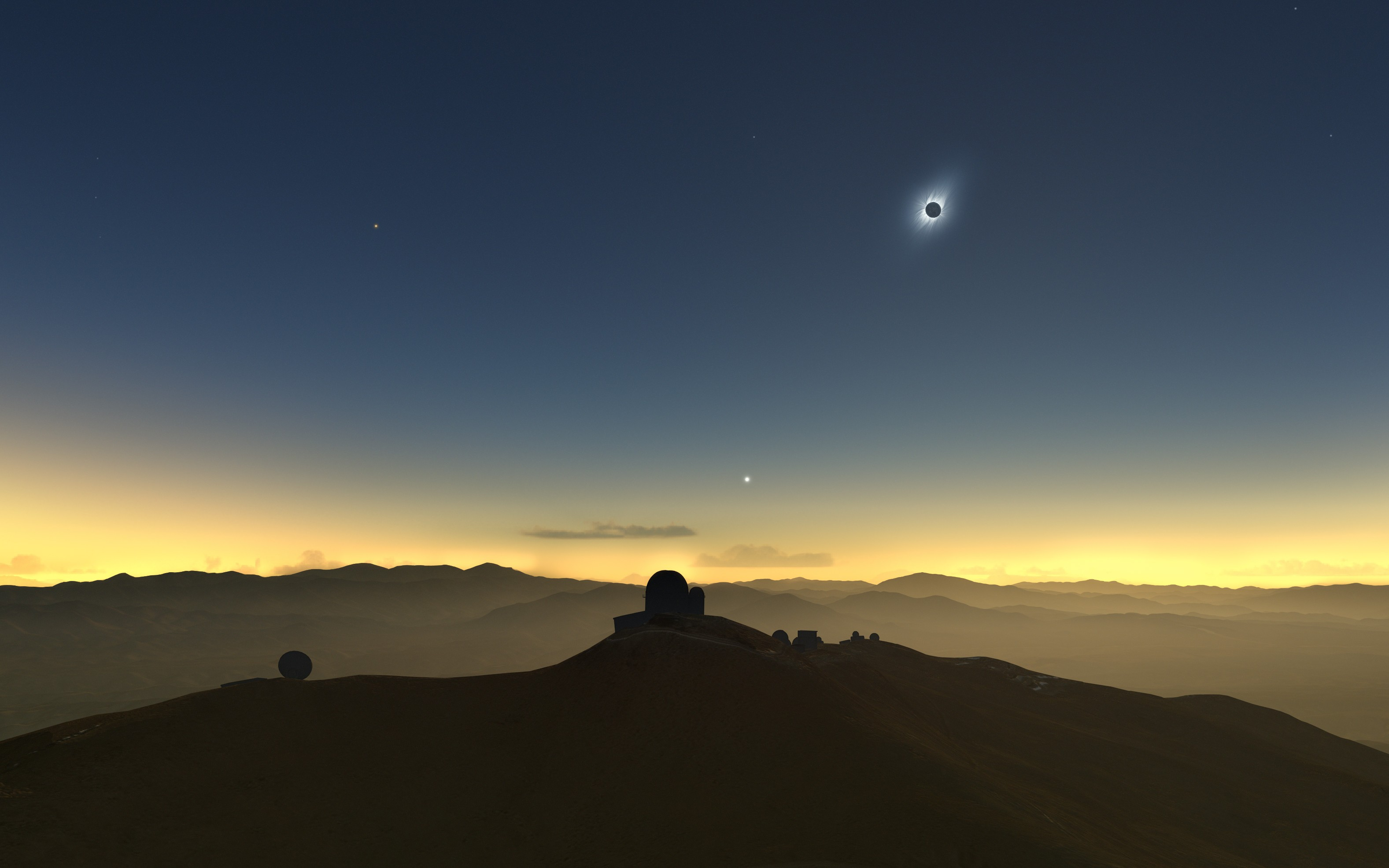 This artist's impression shows how the total solar eclipse of 2 July 2019 could appear from ESO's La Silla Observatory in Chile if there are no clouds. The Sun will be quite low in the western sky and, if the skies are clear, several planets and bright stars should be also visible.