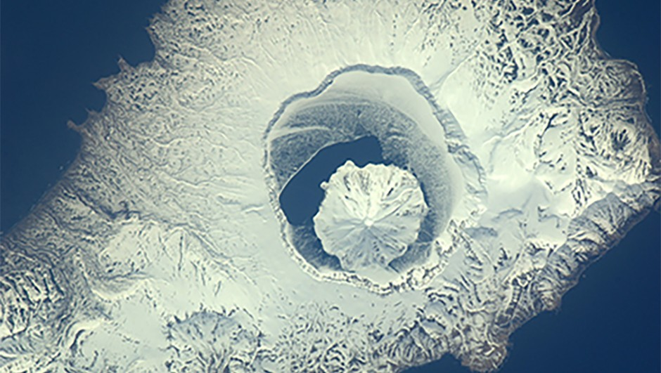 A volcano on the uninhabited island of Onekotan in the northwest Pacific Ocean. This was one of the last images captured by Nespoli during his time on the ISS.Credit: ESA/NASA