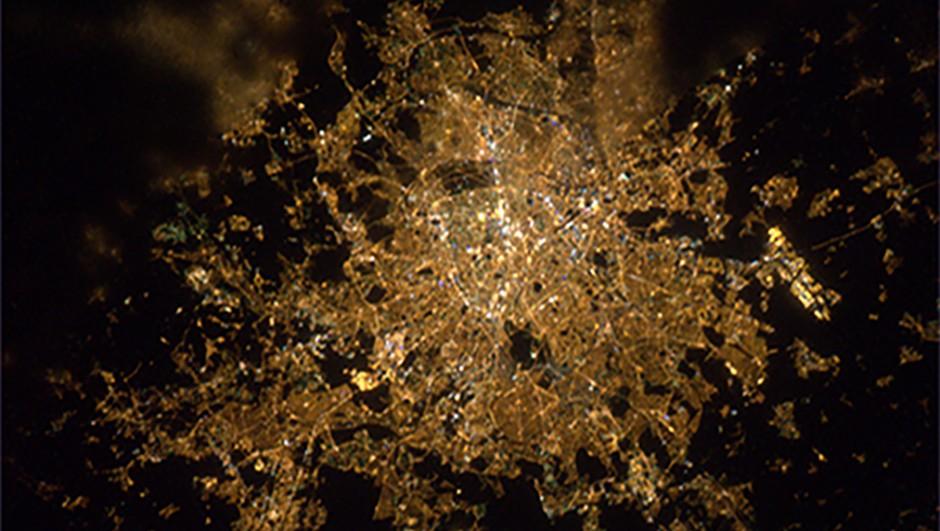 Paris at night, captured by NespoliCredit: ESA/NASA
