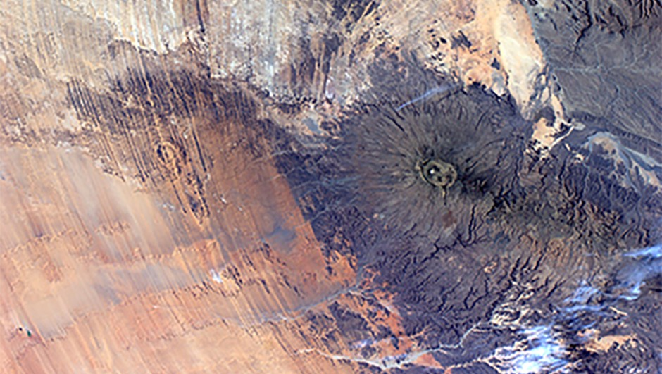Nespoli's view of the Tibesti Mountains in Chad, as seen from the ISSCredit: ESA/NASA