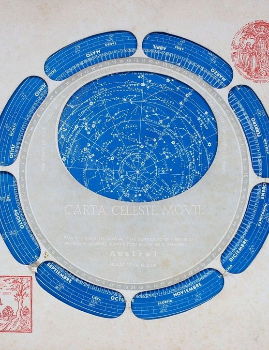 This one is Argentinean and printed in Spanish. It has a southern hemisphere starmap on one side (aperture for 35oS for Buenos Aires) and a Northern Hemisphere starmap on the other (45oN for Madrid). It dates from around 1960.