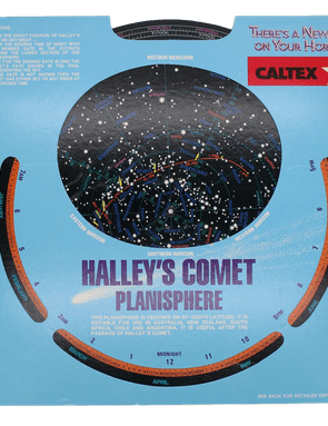 The 1985/6 return of Halley's comet was only really visible in the southern hemisphere, and here is a planisphere that includes the track of the comet with dates overprinted on the star field. It was printed by Astroprom Australia Pty Ltd.