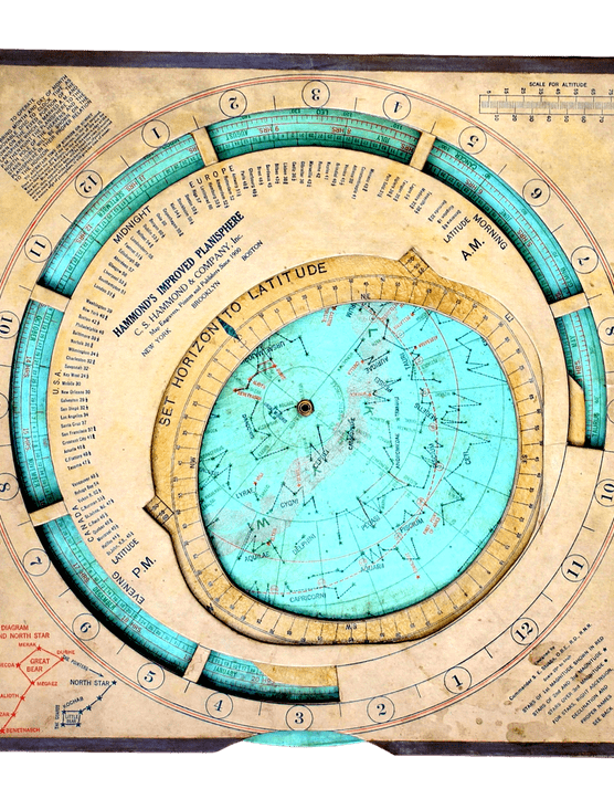 Here's another big one from the US. Hammond's Improved Planisphere is 16 inches square and was produced around 1925. It has the unusual feature of a horizon aperture that can be adjusted for a range of latitudes.