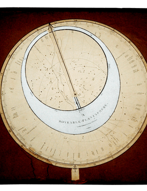 Printed in 1837 by London globe and map makers George and John Cary, this 15-inch square planisphere has both a rotating starmap and a rotating horizon aperture.
