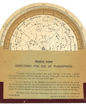 Horizon apertures vary according to the latitude of the observer. This 1925 planisphere produced in Ceylon (now Sri Lanka) has the semicircular cut-out needed for use on the equator.