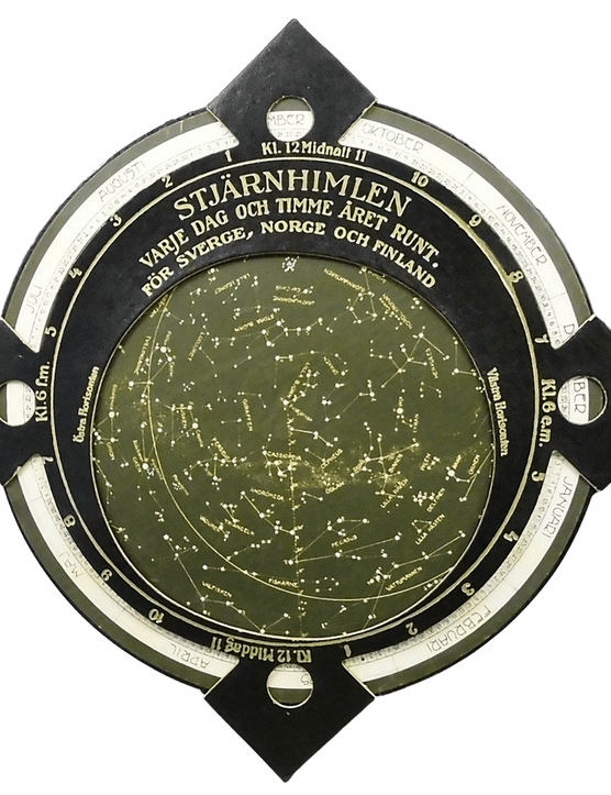 Showing the nearly circular horizon aperture for 65oN, this planisphere is designed for use in Sweden, Norway and Finland.