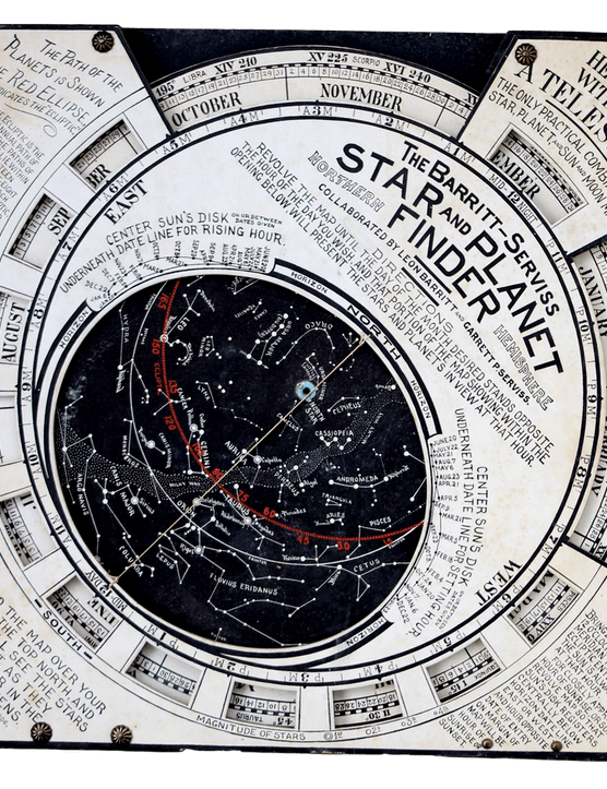 Virtually unchanged in design from 1906 to 1960, this 15-inch square 'Star and Planet Finder' has a thick starmap that is designed to have a set of planet pins stuck into the plane of the ecliptic, their positions given by planet tables supplied with the planisphere.