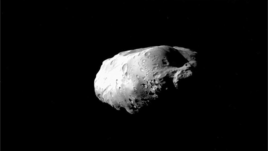 Saturn's moon Prometheus, as seen by the Cassini spacecraft on 6 December 2015. The shape of this elongated moon was also explained in the study.Credit: NASA/JPL-Caltech/Space Science Institute