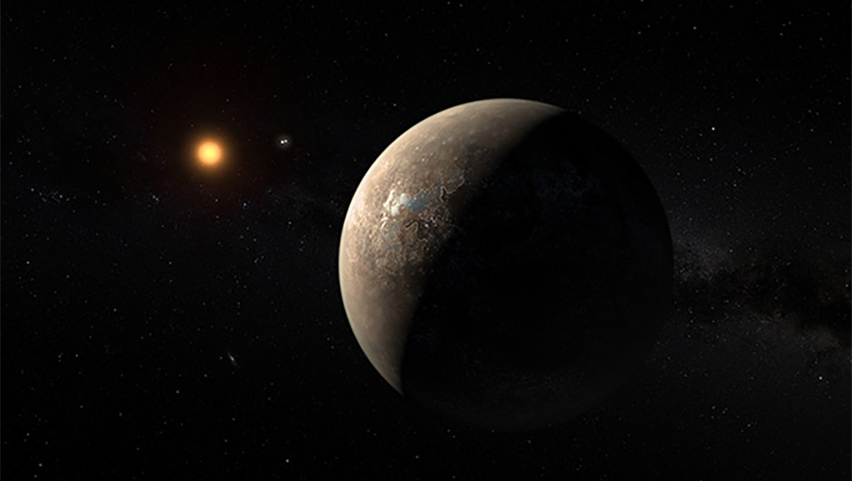 This artist's impression shows the planet Proxima b orbiting the red dwarf star Proxima Centauri, the closest star to the Solar System. The double star Alpha Centauri AB also appears in the image between the planet and Proxima itself. Proxima b is a little more massive than the Earth and orbits in the habitable zone around Proxima Centauri, where the temperature is suitable for liquid water to exist on its surface.