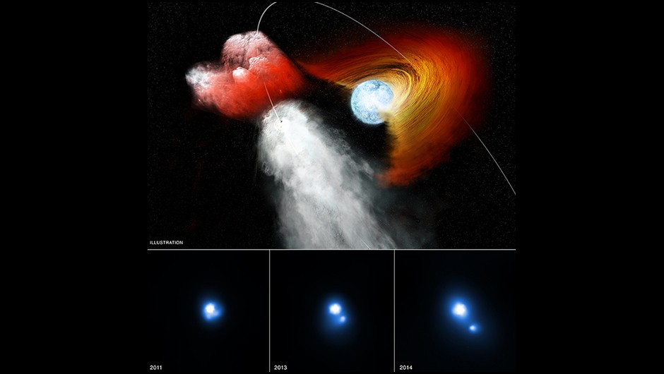 These images contain X-ray evidence from Chandra that a clump of stellar material has been jettisoned away from a double star system at incredibly high speeds. Researchers think that the pulsar knocked out the chunk of debris, which spans over a hundred times the size of the Solar System, when it collided with the disk around the massive star while traveling in its elliptical orbit. This trio of images shows Chandra observations taken between December 2011 and February 2014. The bright source in the center of these images is the binary system, while the smaller point-like source to the lower right seen in the second two observations is the clump that has been dislodged.